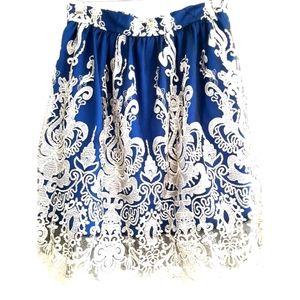 Vintage Embroidered Blue Lace Teacup Dress